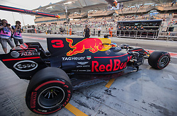 November 24, 2017 - Abu Dhabi, United Arab Emirates - Daniel Ricciardo of Australia and Red Bull Racing Team driver goes during the first practice at Formula One Etihad Airways Abu Dhabi Grand Prix on Nov 24, 2017 in Yas Marina Circuit, Abu Dhabi, UAE. (Credit Image: © Robert Szaniszlo/NurPhoto via ZUMA Press)
