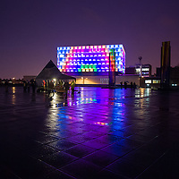 The Liverpool University Engineering Building lit up for Homotopia.