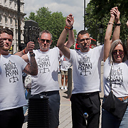 Protesters come from all over England lay shoes outside Downing Street to represent lives lost to knife crime demand justice and tough sentences in the UK, 3 June 2018, London, UK
