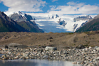 Glacial terminal ponds of the Kennecott Glacier, Stairway Icefall in the distance Wrangell-St. Elias National Park Alaska