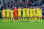 Chelsea players during a minute's silence for all Crystal Palace fans that passed away in 2018 during the Premier League match between Crystal Palace and Chelsea at Selhurst Park, London, England on 30 December 2018.