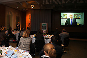 Jonathan Tisch presents the New Yorker of the Year award via video tape to Danny Meyer, Union Square Hospitality Group. Manhattan Chamber of Commerce's 2012 Awards Breakfast celebrated business excellence by recognizing outstanding leaders. The awards were presented by Well Fargo and hosted at Con Edison's Conference Center on January 31, 2013.