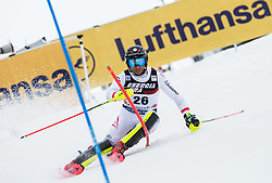 """Marc Digruber (AUT) competes during 1st Run of FIS Alpine Ski World Cup 2017/18 Men's Slalom race named """"Snow Queen Trophy 2018"""", on January 4, 2018 in Course Crveni Spust at Sljeme hill, Zagreb, Croatia. Photo by Vid Ponikvar / Sportida"""
