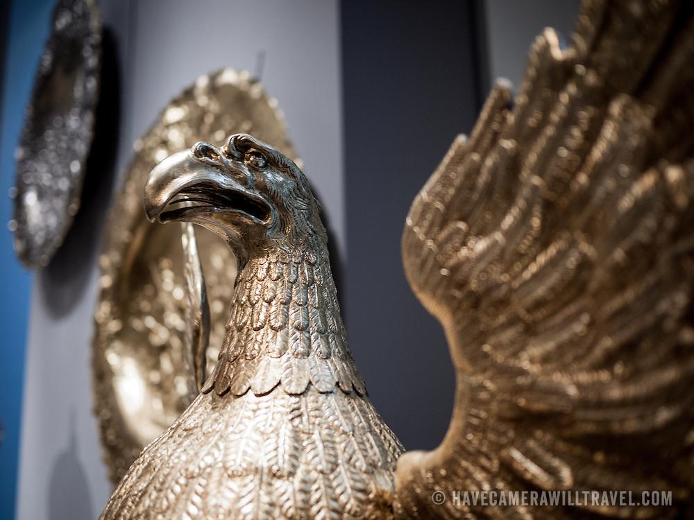 Metal eagle at the Metropolitan Museum of Art in New York, New York.