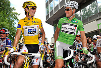 CYCLING - TOUR DE FRANCE 2010 - GAP (FRA) - 14/07/2010 - PHOTO : VINCENT CURUTCHET / DPPI - <br /> STAGE 10 - CHAMBERY > GAP - ANDY SCHLECK (LUX) / SAXO BANK / YELLOW JERSEY AND THOR HUSHOVD (NOR) / CERVELO TEST TEAM / GREEN JERSEY