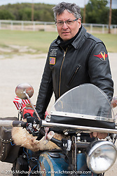 American Iron Magazine publisher Buzz Kanter riding his 1936 Harley-Davidson VLH during Stage 8 of the Motorcycle Cannonball Cross-Country Endurance Run, which on this day ran from Junction City, KS to Burlington, CO., USA. Saturday, September 13, 2014.  Photography ©2014 Michael Lichter.
