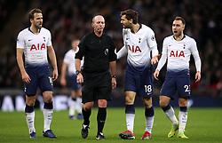 Tottenham Hotspur's Fernando Llorente appeals to match referee Mike Dean