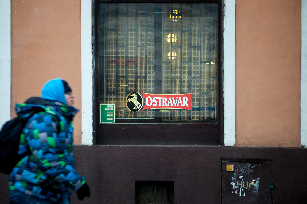 """Street scene in the center of the city of Ostrava, """"Ostravar"""" is a local beer brewed in the city."""