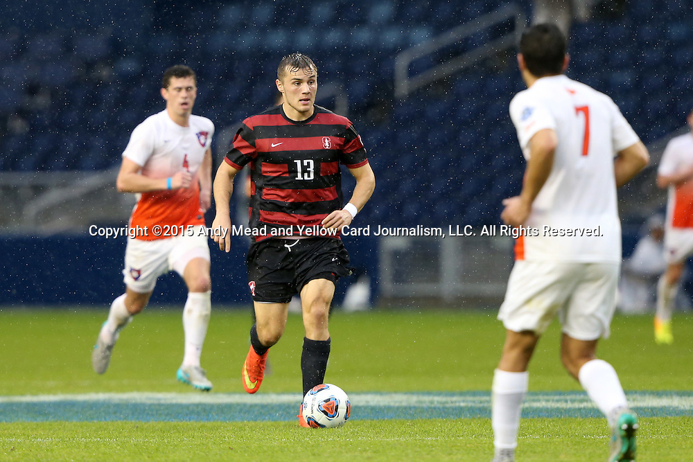 13 December 2015: Stanford's Jordan Morris (13) and Clemson's Iman Mafi (NOR) (7). The Clemson University Tigers played the Stanford University Cardinal at Sporting Park in Kansas City, Kansas in the 2015 NCAA Division I Men's College Cup championship match.