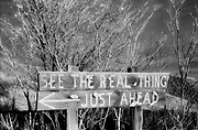 The Real Thing Just Ahead sign, Ryolite, Nevada, USA