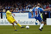 Photo: Olly Greenwood.<br />Colchester United v Leeds United. Coca Cola Championship. 09/04/2007. Leeds' Eddie Lewis scores