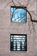 building of the school campus Bildungslandschaft Altstadt Nord (BAN) near the Klingelpuetz park, architect Gernot Schulz, cathedral towers mirrored in a window, Cologne, Germany<br /> <br /> Gebaeude des Schulcampus Bildungslandschaft Altstadt Nord (BAN) am Klingelpuetzpark, Architekt Gernot Schulz, Domtuerme spiegeln sich in einem Fenster, Koeln, Deutschland.
