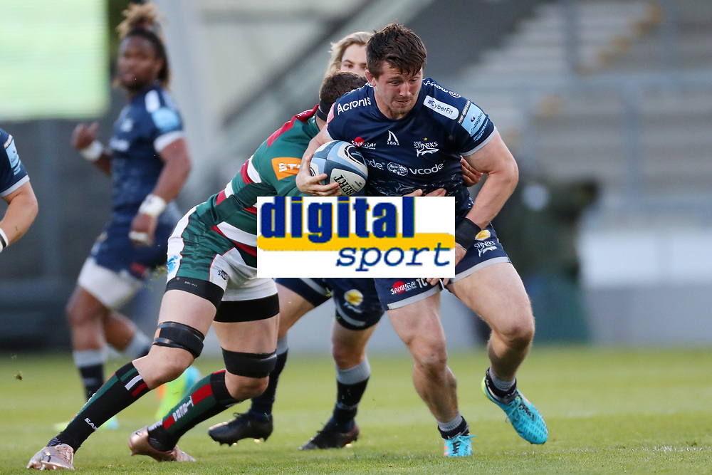 Rugby Union - 2020 / 2021 Gallagher Premiership - Round 18 - Sale Sharks vs Leicester Tigers - A J Bell Stadium<br /> <br /> Tom Curry of Sale Sharks and Cyle Brink of Leicester Tigers