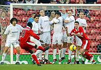 7/11/2004 - FA Barclayship Premiership - Middlesbrough v Bolton Wanderers - The Riverside Stadium<br />Middlesbrough's Jimmy Floyd Hasselbaink tries to curl his free kick around the Bolton Wanderers wall.<br />Photo:Jed Leicester/Back Page Images