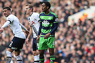 Leroy Fer of Swansea City looks on. Barclays Premier league match, Tottenham Hotspur v Swansea city at White Hart Lane in London on Sunday 28th February 2016.<br /> pic by John Patrick Fletcher, Andrew Orchard sports photography.
