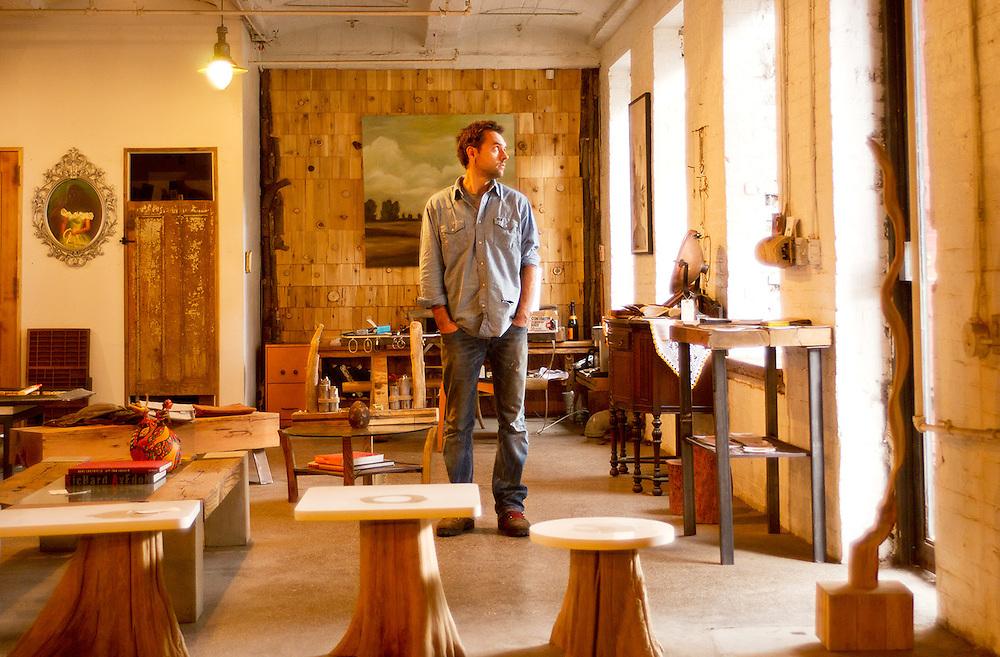 Artist in his Brooklyn studio
