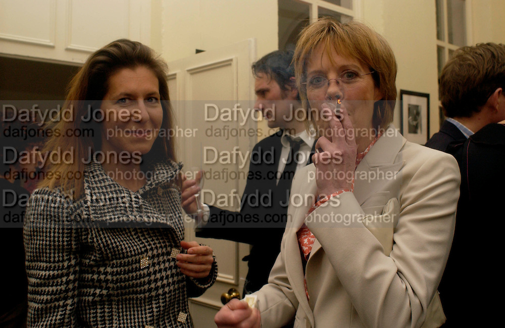 Michelle Lavery and Emma Soames, Status Anxiety by  Alain de Botton,  book launch. Foreign Press Association, Carlton House Terrace. 2 March 2004. ONE TIME USE ONLY - DO NOT ARCHIVE  © Copyright Photograph by Dafydd Jones 66 Stockwell Park Rd. London SW9 0DA Tel 020 7733 0108 www.dafjones.com