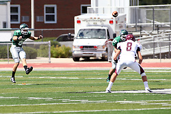 08 September 2012:  Alex Garvey kicks off after a touchdown during an NCAA division 3 football game between the Alma Scots and the Illinois Wesleyan Titans which the Titans won 53 - 7 in Tucci Stadium on Wilder Field, Bloomington IL