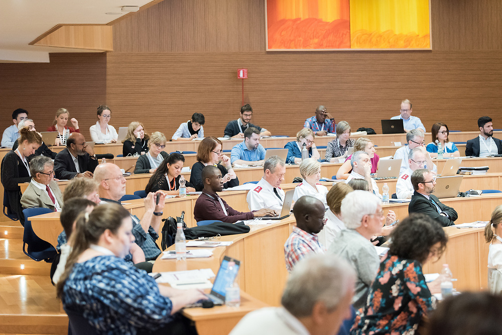 """18 October 2018, Rome, Italy: Convened by the World Council of Churches, the ACT Alliance, Islamic Relief, World Vision and many others, the event """"Faith Action for Children on the Move"""" brings together some 200 participants from 80 different organizations to discuss how faith communities can help end violence against migrant and refugee children."""