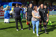 sponsor during the EFL Sky Bet League 1 match between AFC Wimbledon and Shrewsbury Town at the Cherry Red Records Stadium, Kingston, England on 14 September 2019.