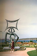 Sculpture in gardens Presidential palace, Palacio da Alvorada, built 1958 architect Oscar Niemeyer, Brasilia, Federal District, Brazil  in 1962