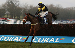 """The field race along the back straight in the """"The Smart Money's On Coral"""" Handicap Hurdle during the Coral Welsh Grand National day at Chepstow Racecourse."""