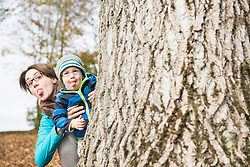 Mother and son sticking out heir lounges looking out behind of big tree in autumn scenery