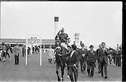 """19/09/1962<br /> 09/19/1962<br /> 19 September 1962<br /> Irish St. Leger at the Curragh Race Course, Co. Kildare. Image shows """"Arctic Vale"""" ridden by Peadar Matthews, winner of the race being led in with trainer Paddy Prendergast looking very happy (2nd from right)."""
