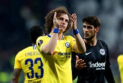 Chelsea's David Luiz applauds the fans at the end of the UEFA Europa League Semi final, first leg match at The Frankfurt Stadion, Frankfurt.