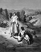 Tobias with Archangel Raphael who helped him catch fish which would miraculously cure his father's eyesight. Tobias 6.6. Plate from Gustave Dore's 'Bible' 1865-6 Wood engraving.