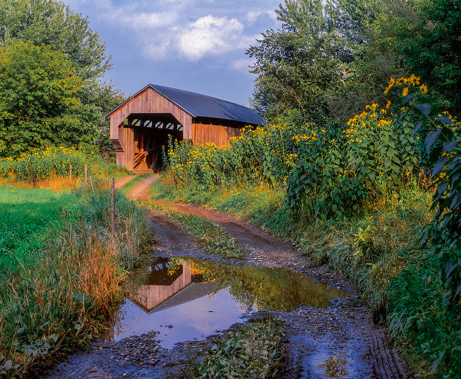 Gates Farm Covered Bridge reflected in country road puddle, Cambridge, VT