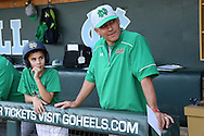16 May 2016: Notre Dame head coach Mik Aoki (right) with his son Kai Aoki (left). The University of North Carolina Tar Heels hosted the University of Notre Dame Fighting Irish in an NCAA Division I Men's baseball game at Boshamer Stadium in Chapel Hill, North Carolina.