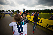#8 (POST Alise) USA congratulates #5 (PAJON Mariana) COL on winning the time trial at the UCI BMX Supercross World Cup in Papendal, Netherlands.