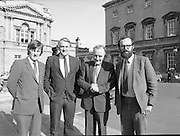 1983-11-83.11th Octoer 1983.11-10-1983.10-11-83..Photographed at Seanad Éireann..Shine on:..Four members of Seanad Éireann enjoy the rare rays of an October sun outside the Upper House of the Oireachtas in Dublin.....