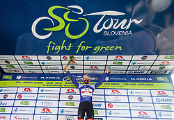 Tadej POGACAR of UAE TEAM EMIRATES celebrates in blue jersey as best in mountain classification at trophy ceremony after the 4th Stage of 27th Tour of Slovenia 2021 cycling race between Ajdovscina and Nova Gorica (164,1 km), on June 12, 2021 in Slovenia. Photo by Vid Ponikvar / Sportida