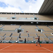 PARIS, FRANCE September 26. A general view of Rafael Nadal of Spain during a practice match with Jannik Sinner of Italy on Court Philippe-Chatrier in preparation for the 2020 French Open Tennis Tournament at Roland Garros on September 26th 2020 in Paris, France. (Photo by Tim Clayton/Corbis via Getty Images)