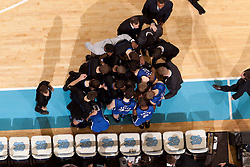 CHAPEL HILL, NC - MARCH 05: An overhead view of the Duke Blue Devils huddling while playing the North Carolina Tar Heels on March 05, 2011 at the Dean E. Smith Center in Chapel Hill, North Carolina. North Carolina won 67-81. (Photo by Peyton Williams/UNC/Getty Images)