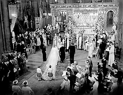 File photo dated 20/11/47 of the scene at the altar steps during the Royal Wedding Ceremony of Princess Elizabeth and the Duke of Edinburgh in Westminster Abbey. H.M the King stands to the left of the bride; on the bridegroom's right is the groomsman, the Marques of Milford Haven. The bride's train is held by two pages T.R.H Prince William of Gloucester and Prince Michael of Kent. Issue date: Friday April 9, 2021. PA Photo See PA story ROYAL Philip Wedding. Photo credit should read: PA/PA Wire