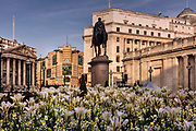 Mansion house and the equestrian statue of the Duke of Wellington viewed from the Royal Exchange garden at Bank during the coronavirus pandemic on the 24th April 2020 in London, United Kingdom.