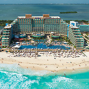 Aerial view of Hard Rock hotel. Cancun, Mexico.