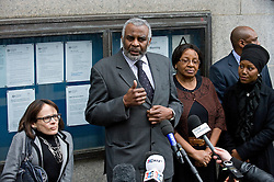 © Licensed to London News Pictures. 04/01/2012. London, UK.  Neville Lawrence giving a statement to the media outside The Old Bailey in London on January 4th, 2012 after the sentencing of Gary Dobson and David Norris to a combined total of over 29 years for the murder of teenager Stephen Lawrence. Photo credit : Ben Cawthra/LNP