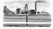 General pit head scene showing engine house for steam engine, head gear etc., and cross sections of a coal mine. Engraving 1860