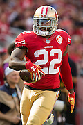 San Francisco 49ers running back Mike Davis (22) carries the ball for a touchdown against the Houston Texans at Levi's Stadium in Santa Clara, Calif., on August 14, 2016. (Stan Olszewski/Special to S.F. Examiner)