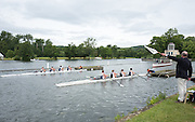Henley on Thames, United Kingdom. 2016 Henley Masters' Regatta. Henley Reach. England. on Saturday  09/07/2016   [Mandatory Credit/ Peter SPURRIER/Intersport Images]<br /> <br /> The Aligner holds the white flag up to confirm to the starter,  that the crews are aligned. Rowing, Henley Reach, Henley Masters' Regatta.<br /> <br /> General View, 2016 Henley Masters Regatta.