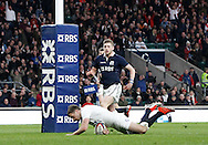 George Ford of England scores his first try during the RBS 6 Nations match at Twickenham Stadium, Twickenham<br /> Picture by Andrew Tobin/Focus Images Ltd +44 7710 761829<br /> 14/03/2015