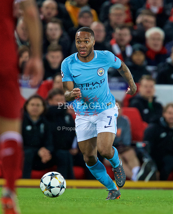 LIVERPOOL, ENGLAND - Wednesday, April 4, 2018: Manchester City's Raheem Sterling during the UEFA Champions League Quarter-Final 1st Leg match between Liverpool FC and Manchester City FC at Anfield. (Pic by David Rawcliffe/Propaganda)