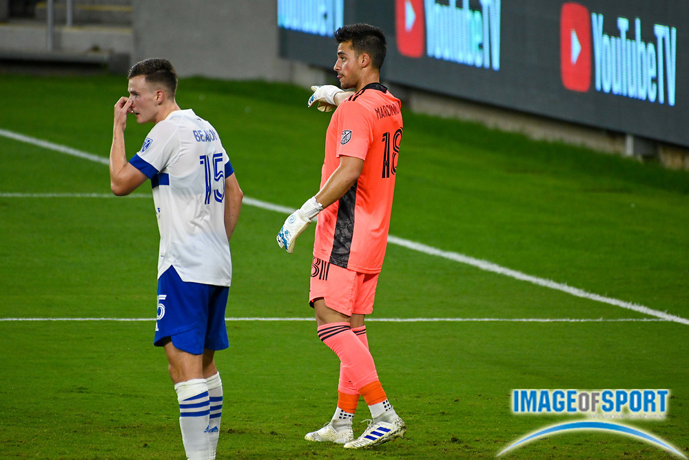 San Jose Earthquakes goalkeeper JT Marcinkowski (18) gestures during a MLS soccer game, Sunday, Sept. 27, 2020, in Los Angeles. The San Jose Earthquakes defeated LAFC 2-1.(Dylan Stewart/Image of Sport)