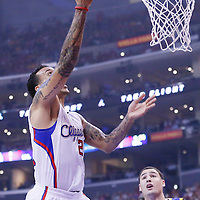 21 April 2014: Los Angeles Clippers forward Matt Barnes (22) goes for the layup during the Los Angeles Clippers 138-98 victory over the Golden State Warriors, during Game Two of the Western Conference Quarterfinals of the NBA Playoffs, at the Staples Center, Los Angeles, California, USA.