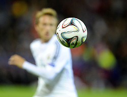 Real Madrid's Luka Modric watches the ball - Photo mandatory by-line: Joe Meredith/JMP - Mobile: 07966 386802 12/08/2014 - SPORT - FOOTBALL - Cardiff - Cardiff City Stadium - Real Madrid v Sevilla - UEFA Super Cup