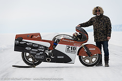 French custom bike builder Bertrand Dubet with his partially streamlined Aprilia RSV4 racer at the Baikal Mile Ice Speed Festival. Maksimiha, Siberia, Russia. Wednesday, February 26, 2020. Photography ©2020 Michael Lichter.